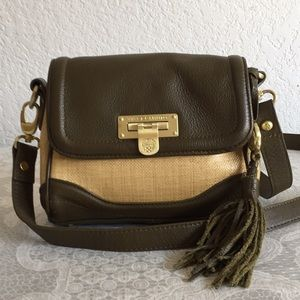 Vince camuto olive green leather and straw Bag